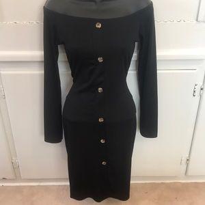 Boohoo Black Off-the-Shoulder Long-sleeve Dress 8